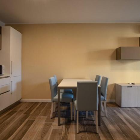 Aparthotel con cucina, soggiorno e divano letto.